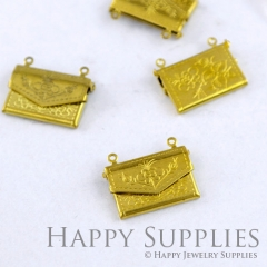 6pcs Envelope Raw Brass Locket Pendants /Charms (FS004)