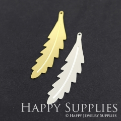 1pcs Feather Brass Charm Pendant Fit For Necklace Earring Brooch GDSD257