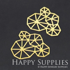 4pcs Raw Brass Geometry Charm Pendant Brass Jewelry Fit For Necklace Earring Brooch RD262