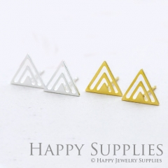 1pair Triangle Golden Silver Rose Golden Brass Earring Post Finding With Ear Studs Back Stoppers ZEN012