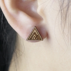 4pcs DIY Laser Cut Wooden Earring Triangle Charms SMN31
