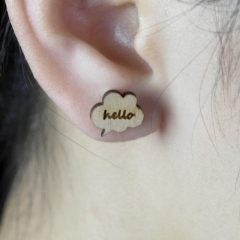 4pcs DIY Laser Cut Wooden Earrings Hello Charms SMN48