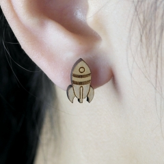 4pcs DIY Laser Cut Wooden Earrings Rocket Charms SMN46