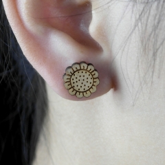 4pcs DIY Laser Cut Wooden Earrings Sun Flower Charms SMN42