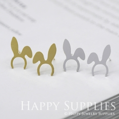 1pair Rabbit Ears Golden Silver Rose Golden Brass Earring Post Finding With Ear Studs Back Stoppers ZEN070