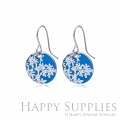 6pcs Flower Blue 925 Silver Plated Brass Charm Earring Necklace SY160