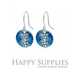 6pcs Blue Pattern 925 Silver Plated Brass Charm Earring Necklace SY193