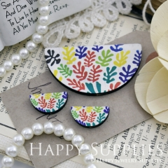 Semicircular Color Leaves Handmade Photo Wood Cut Charm Cabochon SC26