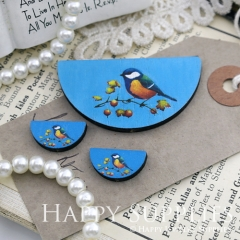 Semicircular Bird Handmade Photo Wood Cut Charm Cabochon SC16