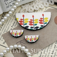 Semicircular Color Leaves Handmade Photo Wood Cut Charm Cabochon SC04