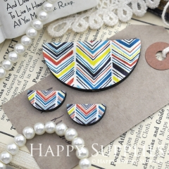 Semicircular Ethnic Pattern Handmade Photo Wood Cut Charm Cabochon SC02