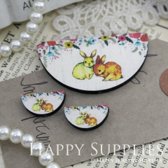 Semicircular Cute Rabbits Handmade Photo Wood Cut Charm Cabochon SC12