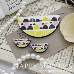 Semicircular Ethnic Pattern Handmade Photo Wood Cut Charm Cabochon SC29