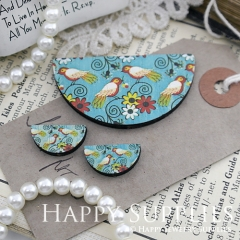 Semicircular Flower Birds Handmade Photo Wood Cut Charm Cabochon SC21