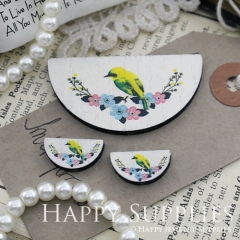 Semicircular Flower Bird Handmade Photo Wood Cut Charm Cabochon SC20