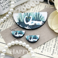 Semicircular Swan Handmade Photo Wood Cut Charm Cabochon SC24