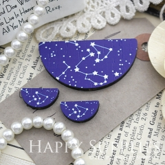 Semicircular Galaxy Map Handmade Photo Wood Cut Charm Cabochon SC01