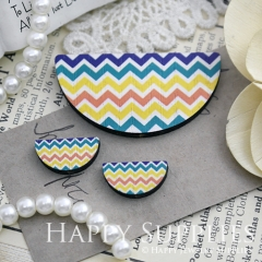 Semicircular Color Wave Pattern Handmade Photo Wood Cut Charm Cabochon SC10
