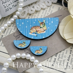 Semicircular Deer Handmade Photo Wood Cut Charm Cabochon SC27