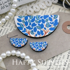 Semicircular Blue Leaves Handmade Photo Wood Cut Charm Cabochon SC22