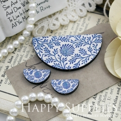 Semicircular Blue Leaves Handmade Photo Wood Cut Charm Cabochon SC25