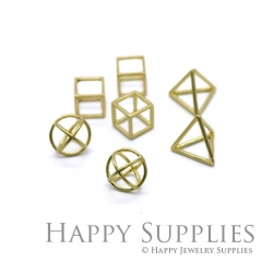 5Pcs 3D Geometric Circle Triangle Square Cube Raw Brass Pendant 3D04-06