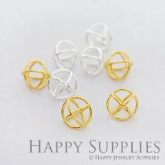2Pcs 3D Geometric Circle Cube 24K Golden 925 Silver Plated Brass Pendant 3D03