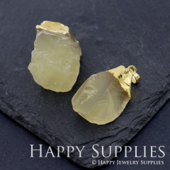 1pcs Golden Brass Irregular Citrine Crystal Pendant for Necklace Making Gemstone Charms Wholesale GM008