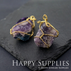 2pcs Golden Brass Irregular Binding Violet Green Fluorite Crystal Pendant for Necklace Making Gemstone Charms Wholesale GM010