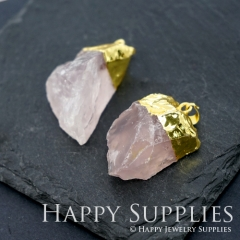 1pcs Golden Brass Irregular Rose Quartz Crystal Pendant for Necklace Making Gemstone Charms Wholesale GM007