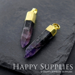 2pcs Golden Brass Bullet Natural Amethyst Gemstone Pointed Pendants for Necklace Making Gemstone Charms Wholesale 45x9mm GM570