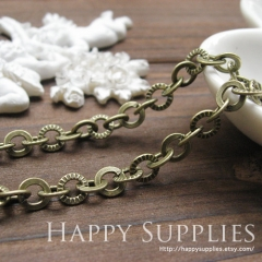 16.6 Feet (6.5mm) Nickel Free - 6.5mm Antique Bronze Cross O Chains (W124)