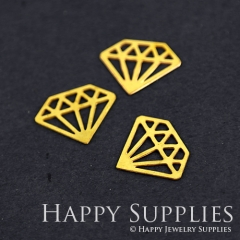 10pcs Raw Brass Diamond Geometry Charm Pendant Fit For Necklace Earring Brooch RD286