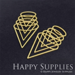 4pcs Raw Brass Geometry Charm Pendant Fit For Necklace Earring Brooch RD267