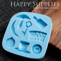 1 Set Silicone Mold For Alice Theme Different Shapes DIY Mushroom Wine Bottle Key Moon Poker Clock Hat Heart BM033