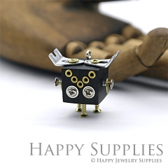 1pcs Handmade Medium Wooden Robot Pendant Necklace RM01