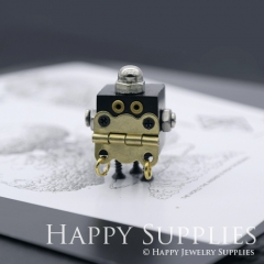 1pcs Handmade Medium Wooden Robot Pendant Necklace RM05