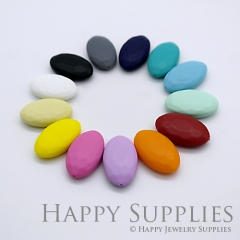 20pcs 30x18x8mm Oval Colorful Silicone Beads SP012