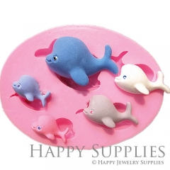 1 Set Silicone Mold For Dolphin Cube Bead 22-44mm Dolphin DIY Resin Dolphin BM059
