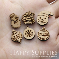 4pcs DIY Laser Cut Wooden Merry Christmas Charms SWC223-228