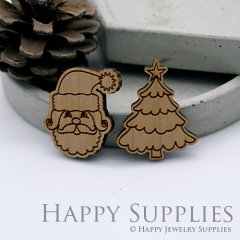 2pcs DIY Laser Cut Wooden Santa Claus Christmas Tree Charms SWC229 / SWC230