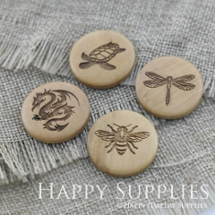 4Pcs 25mm Tortoise Dragonfly Dragon Bee Handmade Photo Laser Cut Wooden Cabochon Charms Pendants BW17-20