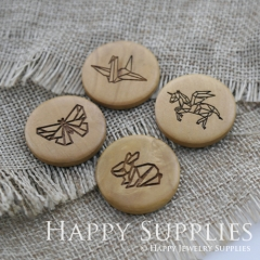 4Pcs 25mm Paper Cranes Butterfly Unicorn Rabbit Handmade Photo Laser Cut Wooden Cabochon Charms Pendants BW25-28