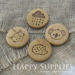 4Pcs 25mm Fox Rain Clouds Koala Hedgehog Handmade Photo Laser Cut Wooden Cabochon Charms Pendants BW09-12