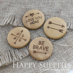 4Pcs 25mm Arrow Love Compass Brave Handmade Photo Laser Cut Wooden Cabochon Charms Pendants BW21-24