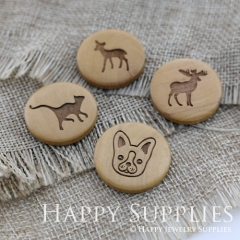 4Pcs 25mm Elk Deer Cat Dog Handmade Photo Laser Cut Wooden Cabochon Charms Pendants BWBW29-32
