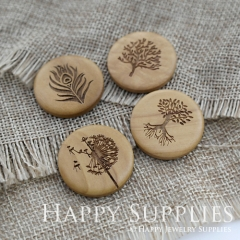 4Pcs 25mm Peacock Feather Tree of Life Dandelion Handmade Photo Laser Cut Wooden Cabochon Charms Pendants BW01-04
