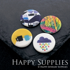 2pcs 25mm Round Pattern Cup Color Rain Clouds Handmade Photo Ceramic Porcelain Charms CPA09-12