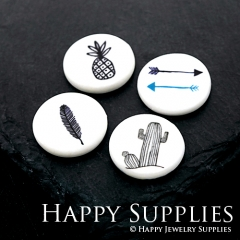 2pcs 25mm Round Pineapple Arrow Feather Cactus Handmade Photo Ceramic Porcelain Charms CPA01-04
