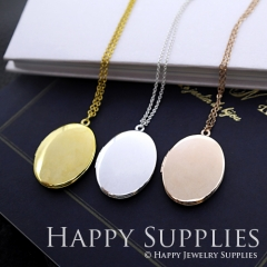2pcs 23x29mm /17x21mm Oval Blank Golden / Silver / Rose Golde Plated Brass Locket Pendants /Charms ZL10